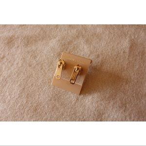 NWT Gold Zipper Pull Stud Earrings